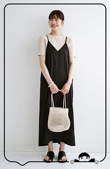 haco! 定番Tシャツと一緒に着るだけでかわいくなれる マーメイドシルエットが女っぽいサテンキャミワンピースby who made me <ブラック>の商品写真
