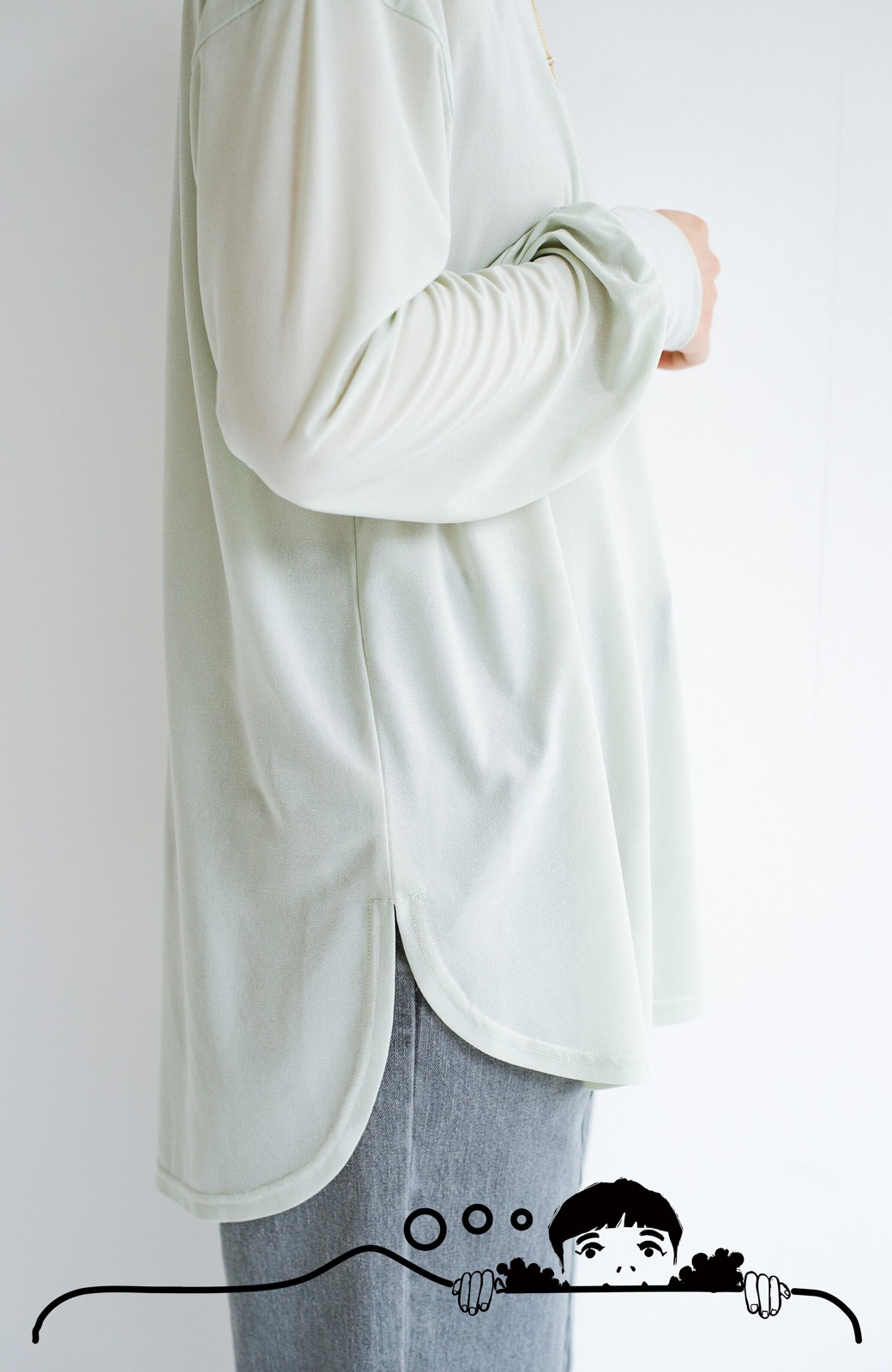 haco! 合わせやすくてコーデが華やぐ パジャマ並みにやわらかな着心地のシアーロンTby who made me <ミント>の商品写真5