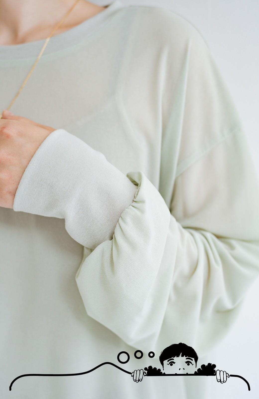 haco! 合わせやすくてコーデが華やぐ パジャマ並みにやわらかな着心地のシアーロンTby who made me <ミント>の商品写真9
