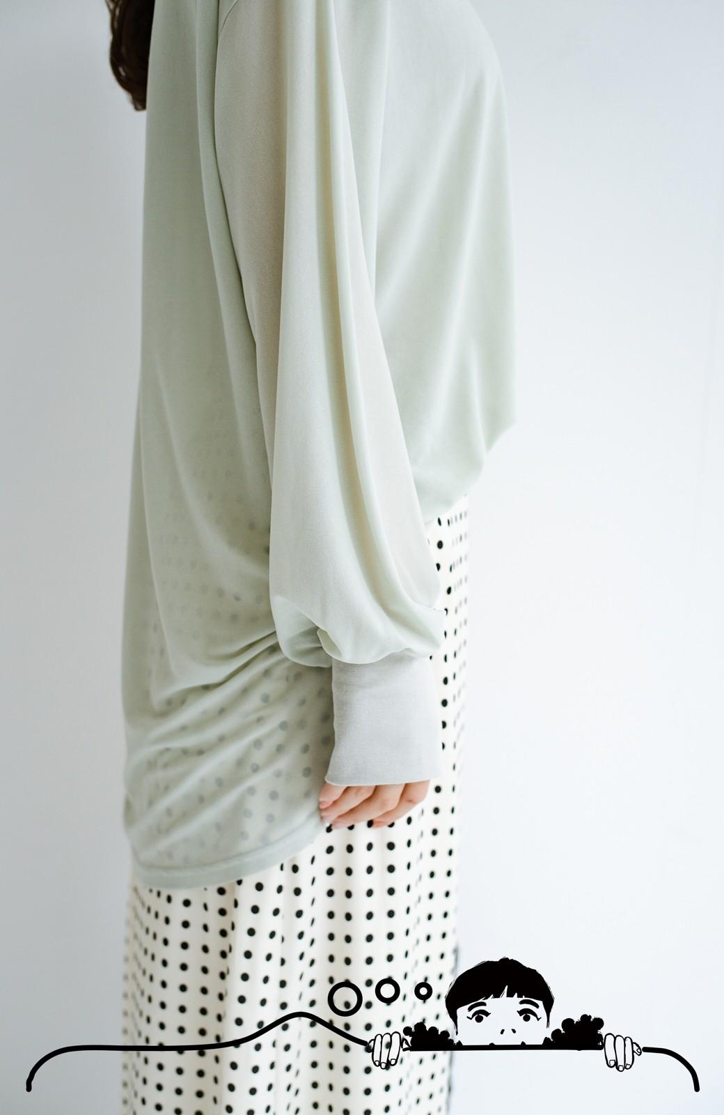 haco! 合わせやすくてコーデが華やぐ パジャマ並みにやわらかな着心地のシアーロンTby who made me <ミント>の商品写真6
