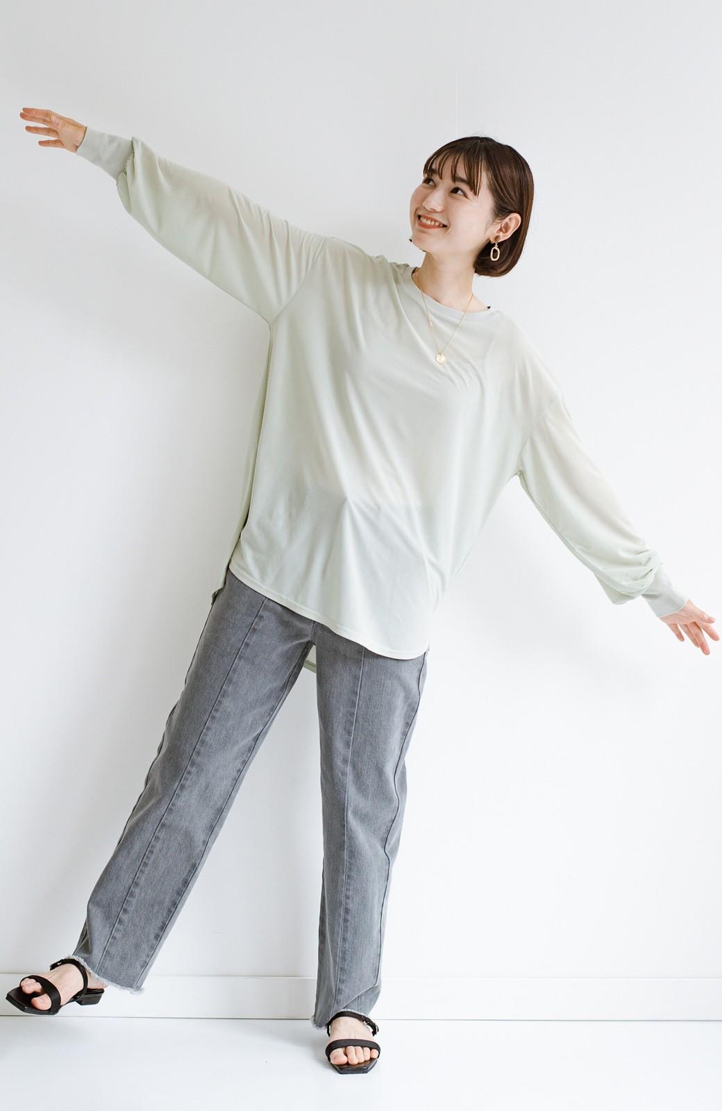 haco! 合わせやすくてコーデが華やぐ パジャマ並みにやわらかな着心地のシアーロンTby who made me <ミント>の商品写真22