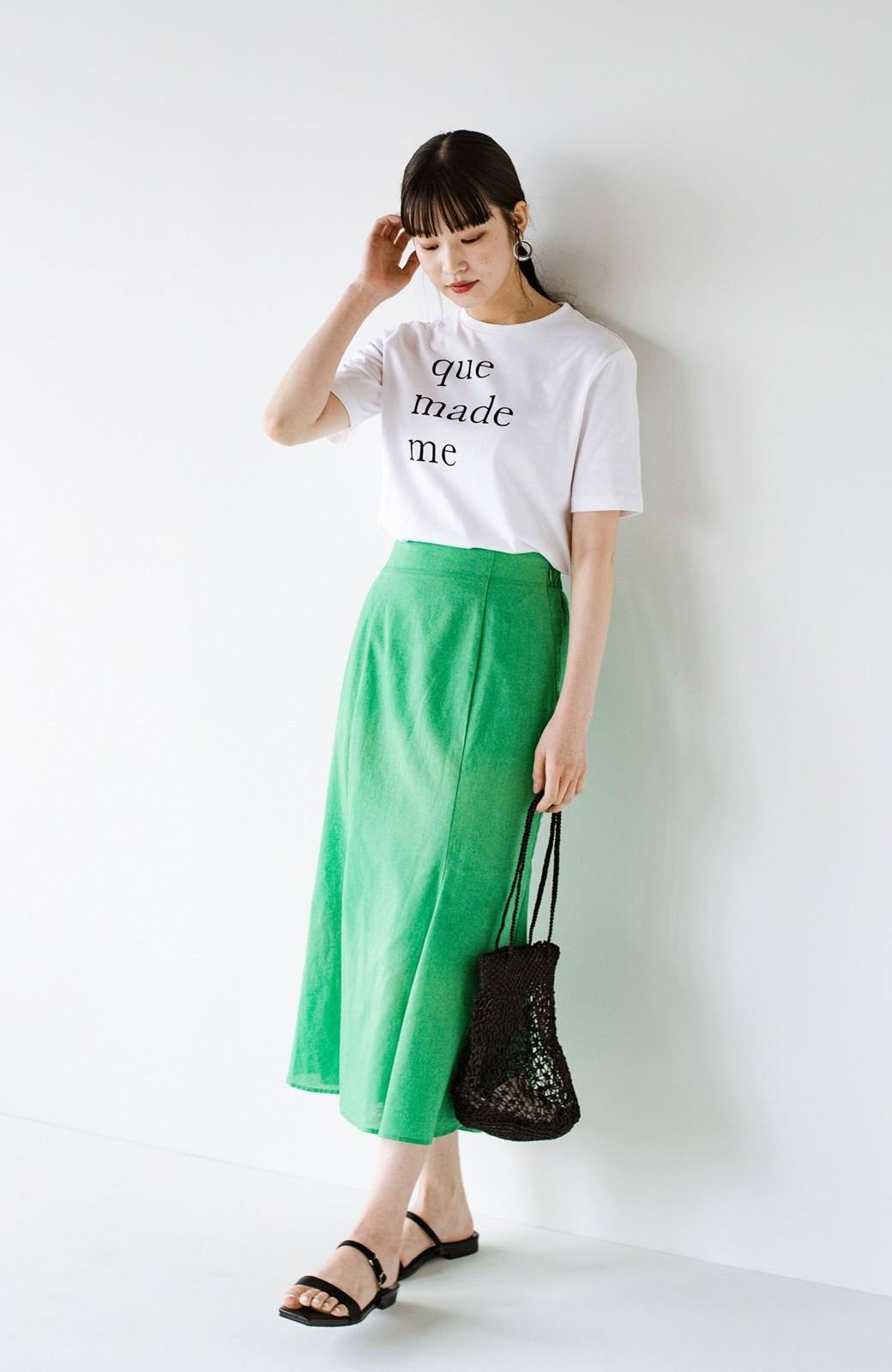 haco! Tシャツと合わせるだけでコーデが決まる!楽して女っぽが叶う麻混マーメイドスカート by que made me <グリーン>の商品写真14