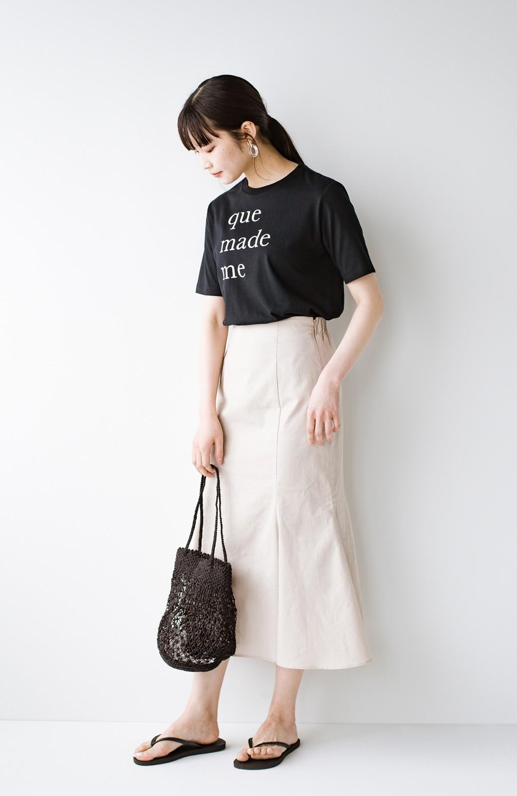 haco! Tシャツと合わせるだけでコーデが決まる!楽して女っぽが叶う麻混マーメイドスカート by que made me <ベージュ>の商品写真13