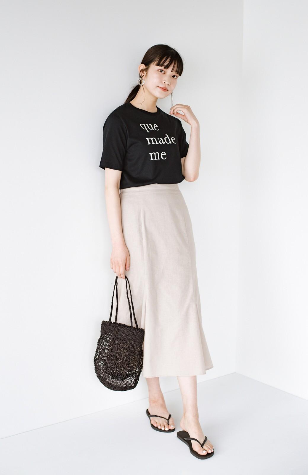 haco! Tシャツと合わせるだけでコーデが決まる!楽して女っぽが叶う麻混マーメイドスカート by que made me <ベージュ>の商品写真14