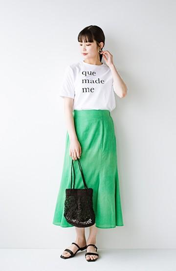 haco! 時間のない朝にもパッと出かけられる!元気が出るきれい色スカートにちょうどいいロゴTシャツを合わせておいた作り置きコーデセット by que made me <その他>の商品写真