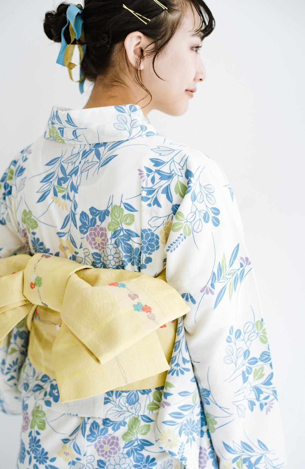 haco! ひでや工房 京都の綿ちりめん浴衣 <サックスブルー>の商品写真4