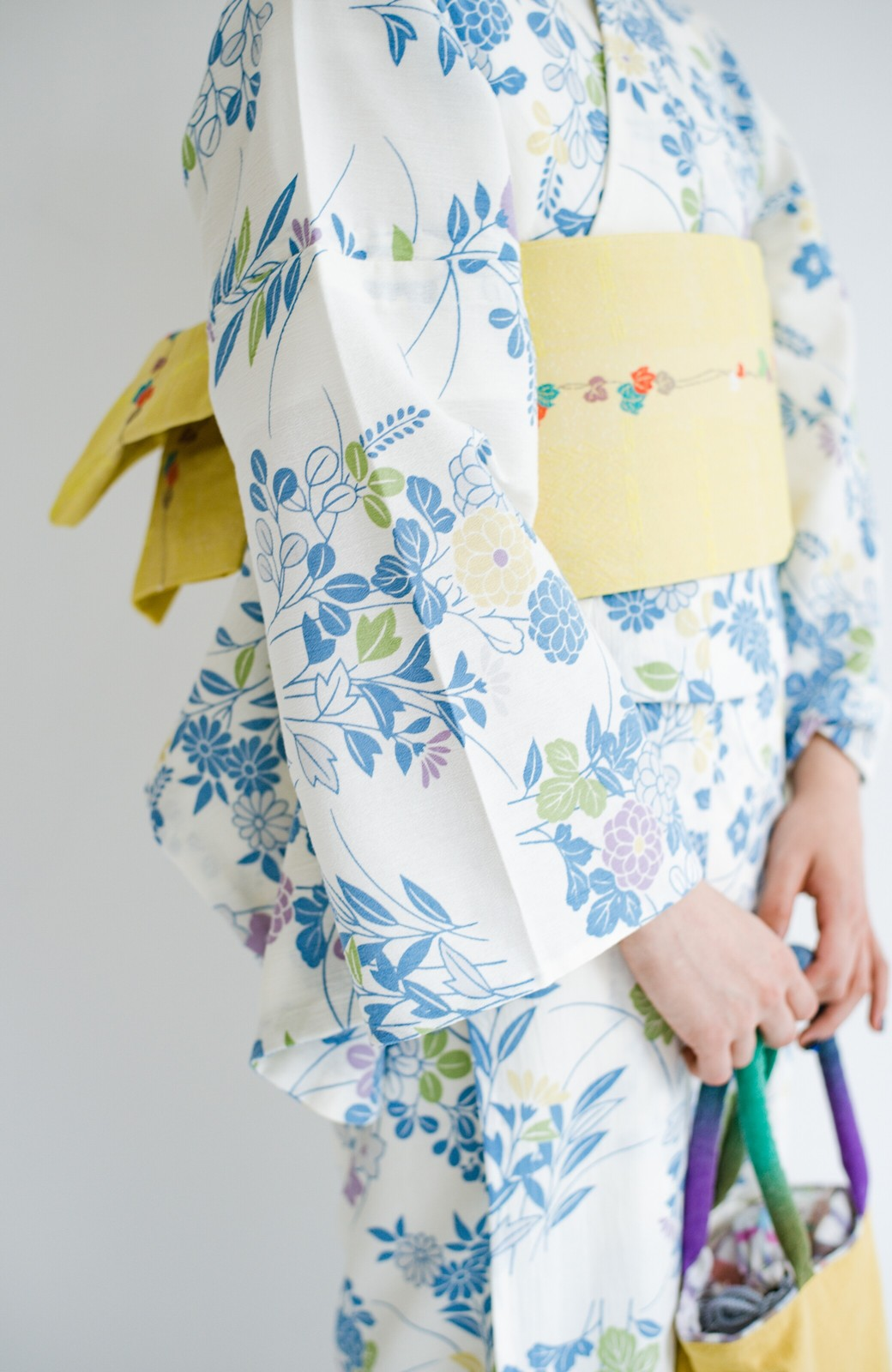 haco! ひでや工房 京都の綿ちりめん浴衣 <サックスブルー>の商品写真5
