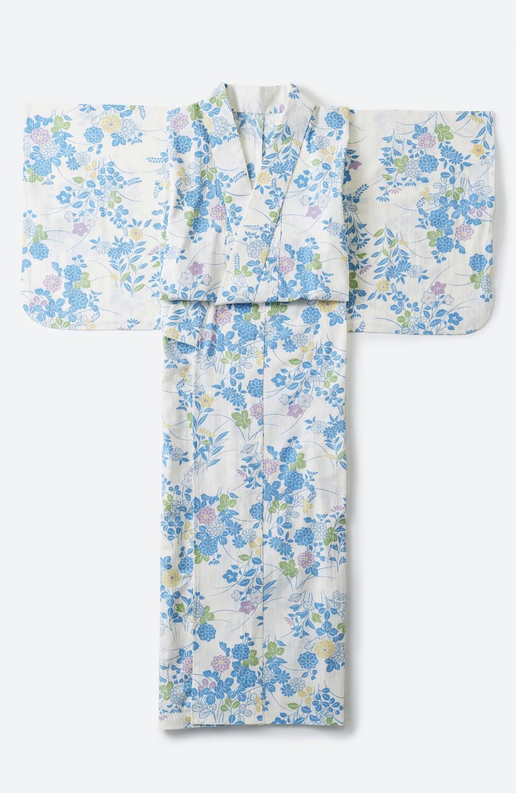 haco! ひでや工房 京都の綿ちりめん浴衣 <サックスブルー>の商品写真2
