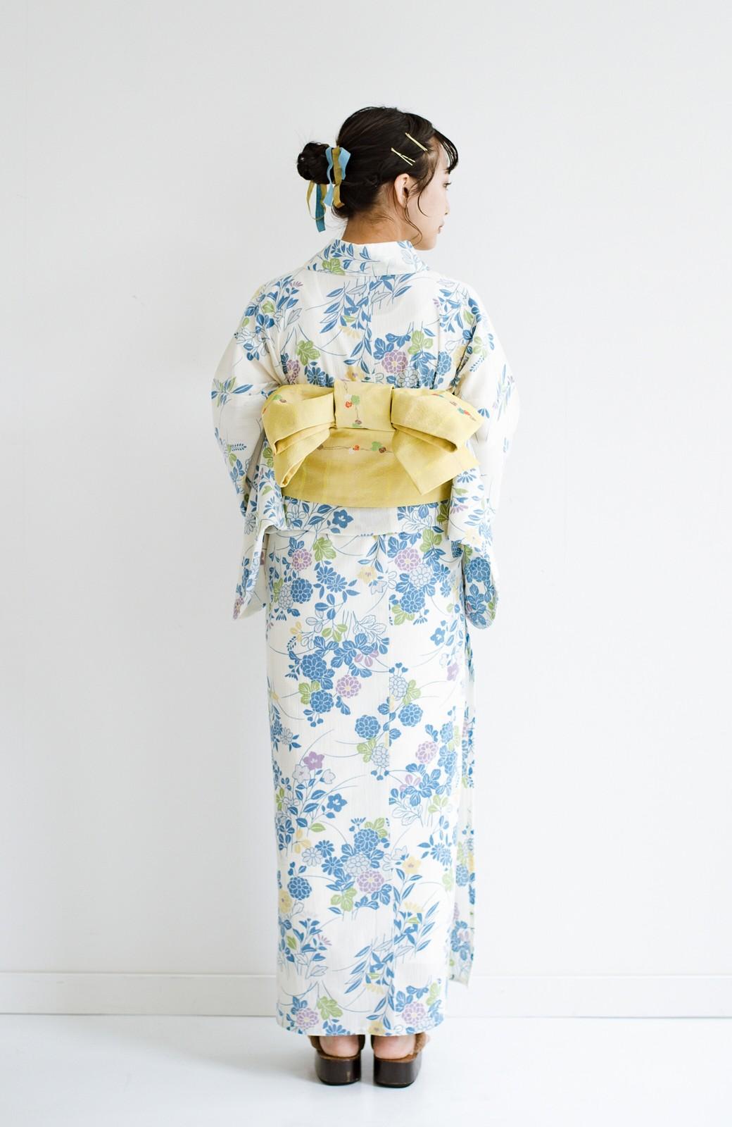 haco! ひでや工房 京都の綿ちりめん浴衣 <サックスブルー>の商品写真11