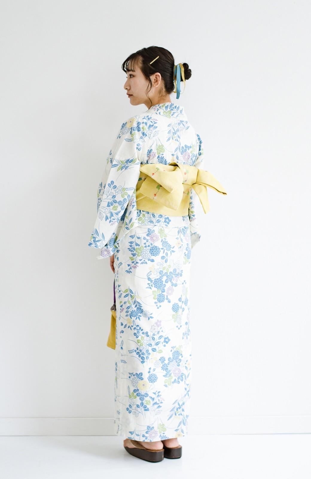 haco! ひでや工房 京都の綿ちりめん浴衣 <サックスブルー>の商品写真12
