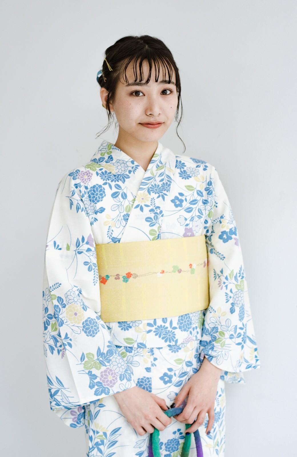 haco! ひでや工房 京都の綿ちりめん浴衣 <サックスブルー>の商品写真13