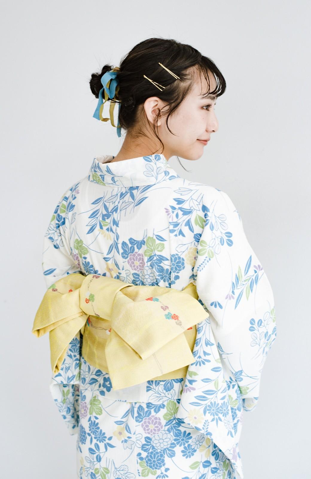 haco! ひでや工房 京都の綿ちりめん浴衣 <サックスブルー>の商品写真16