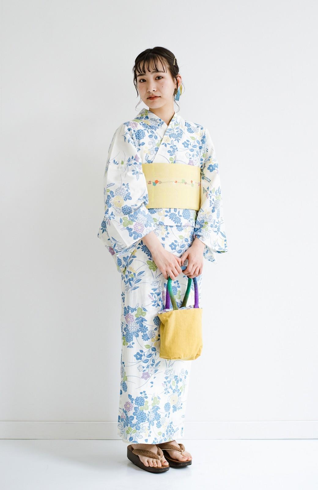 haco! ひでや工房 京都の綿ちりめん浴衣 <サックスブルー>の商品写真8