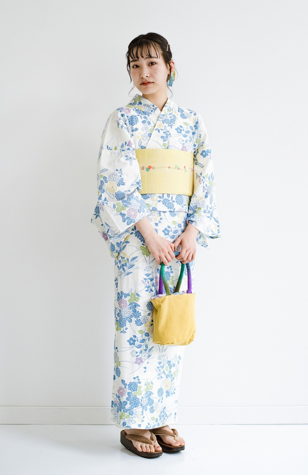 haco! ひでや工房 京都の綿ちりめん浴衣 <サックスブルー>の商品写真1