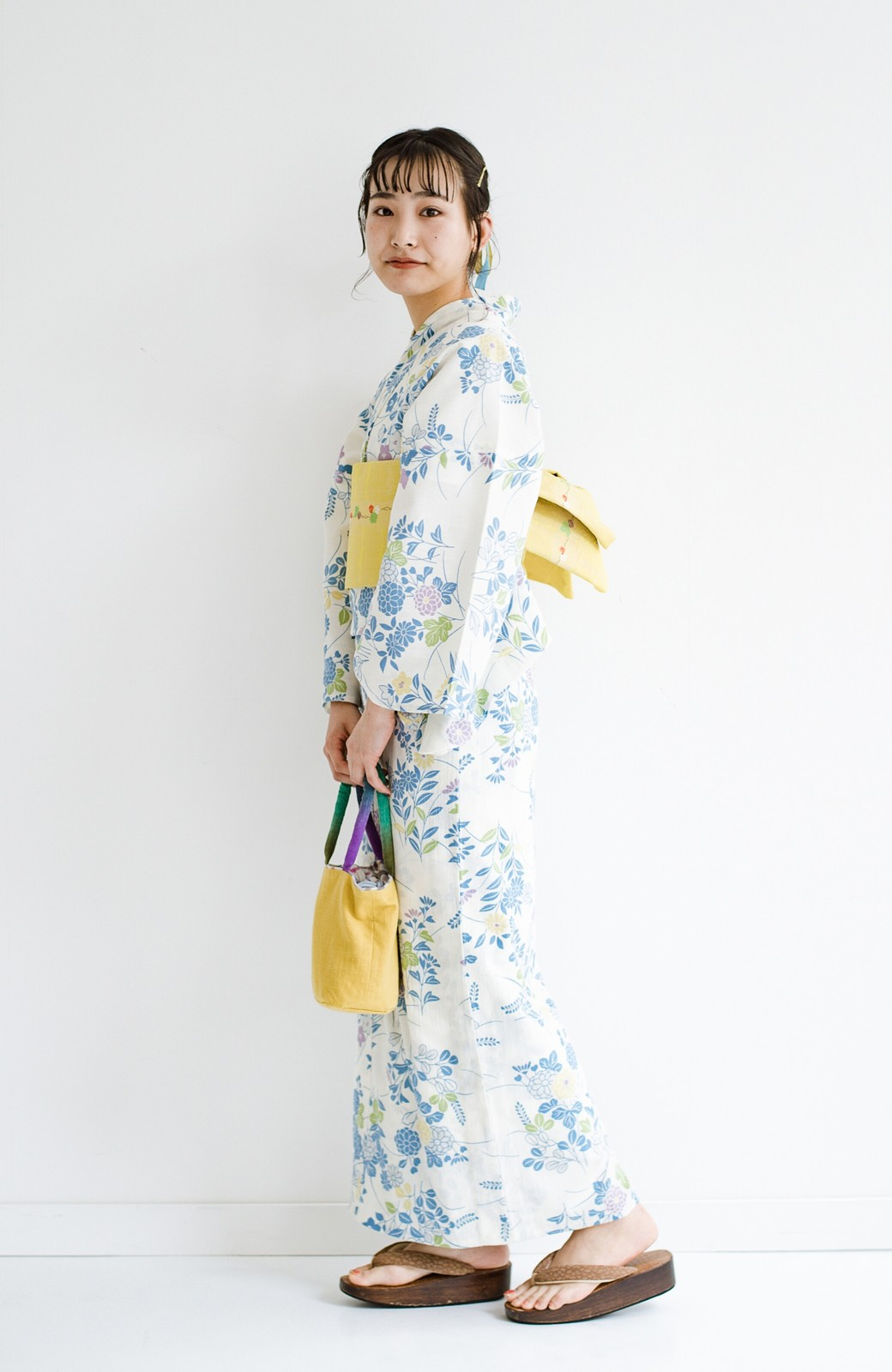 haco! ひでや工房 京都の綿ちりめん浴衣 <サックスブルー>の商品写真10