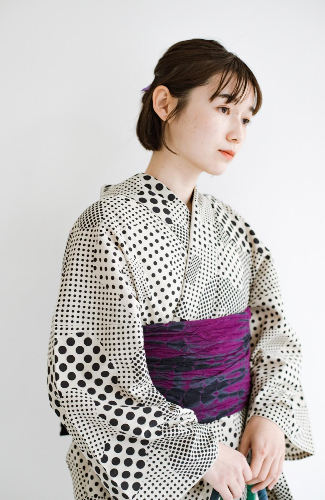 haco! ひでや工房 京都の綿ちりめん浴衣 <ベージュ>の商品写真4