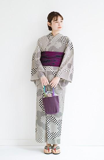 haco! ひでや工房 京都の綿ちりめん浴衣<ベージュ>の商品写真