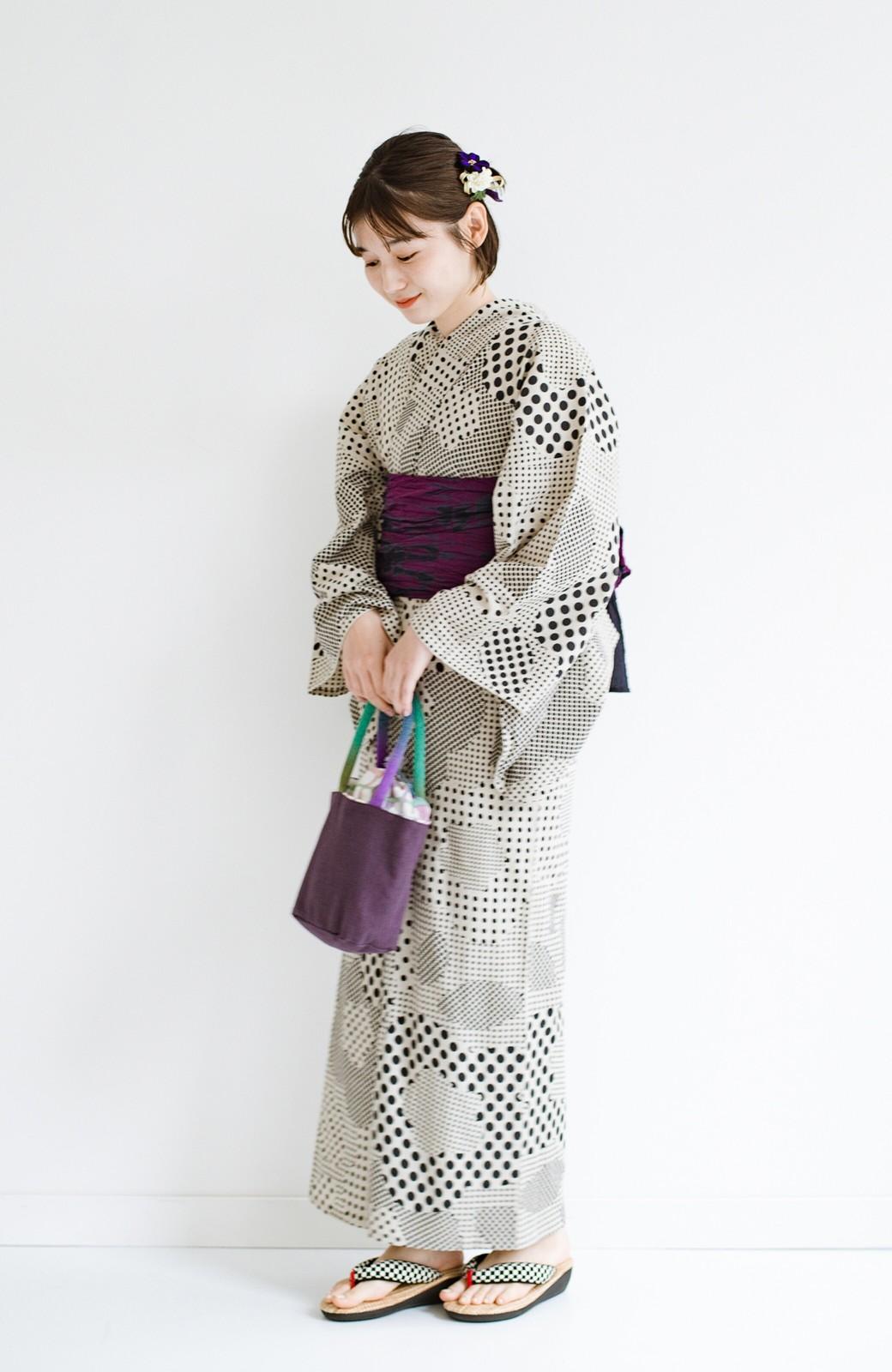 haco! ひでや工房 京都の綿ちりめん浴衣 <ベージュ>の商品写真7