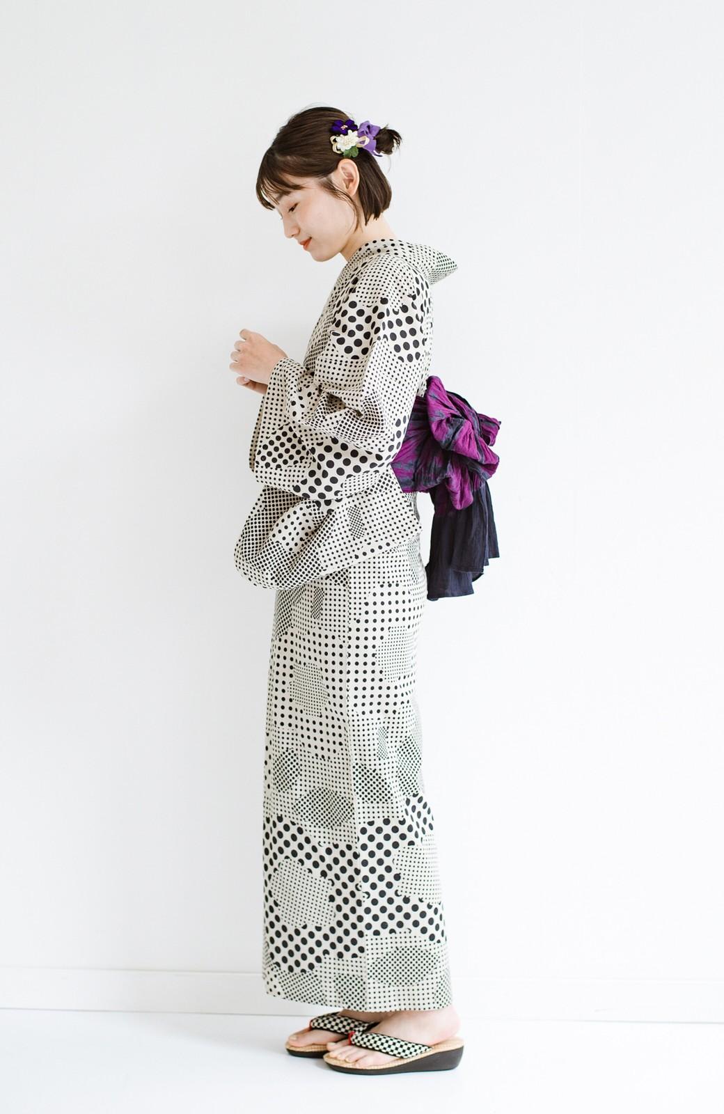 haco! ひでや工房 京都の綿ちりめん浴衣 <ベージュ>の商品写真12