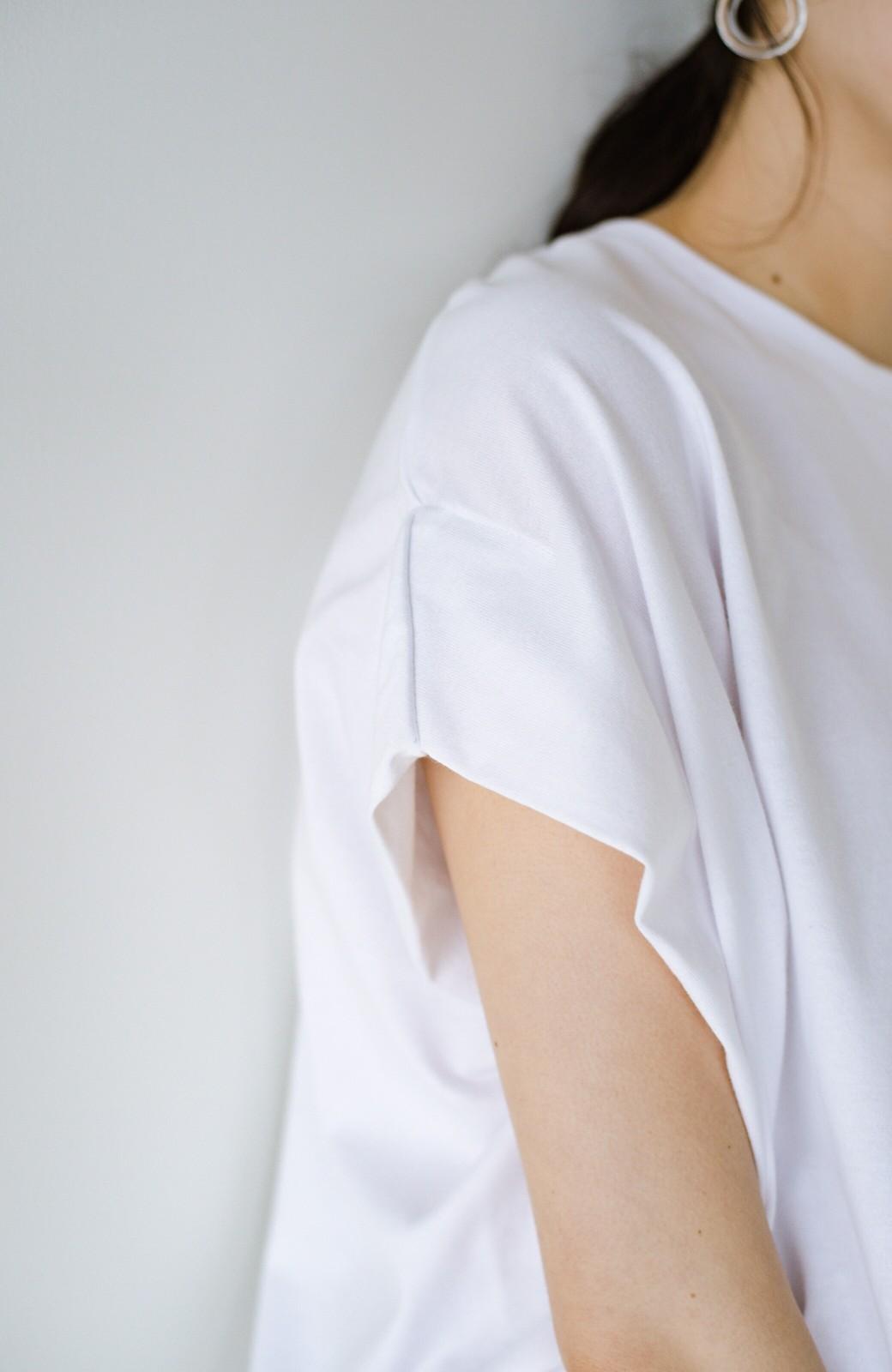 haco! PBPオーガニックコットン 楽ちんなのにブラウス気分で着られる大人のおめかしTシャツ <ホワイト>の商品写真5