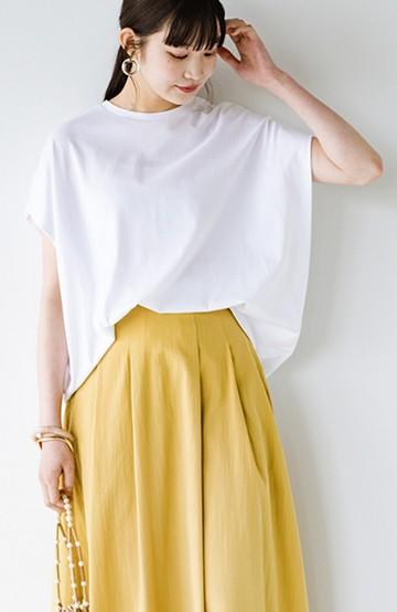 haco! PBPオーガニックコットン 楽ちんなのにブラウス気分で着られる大人のおめかしTシャツ <ホワイト>の商品写真
