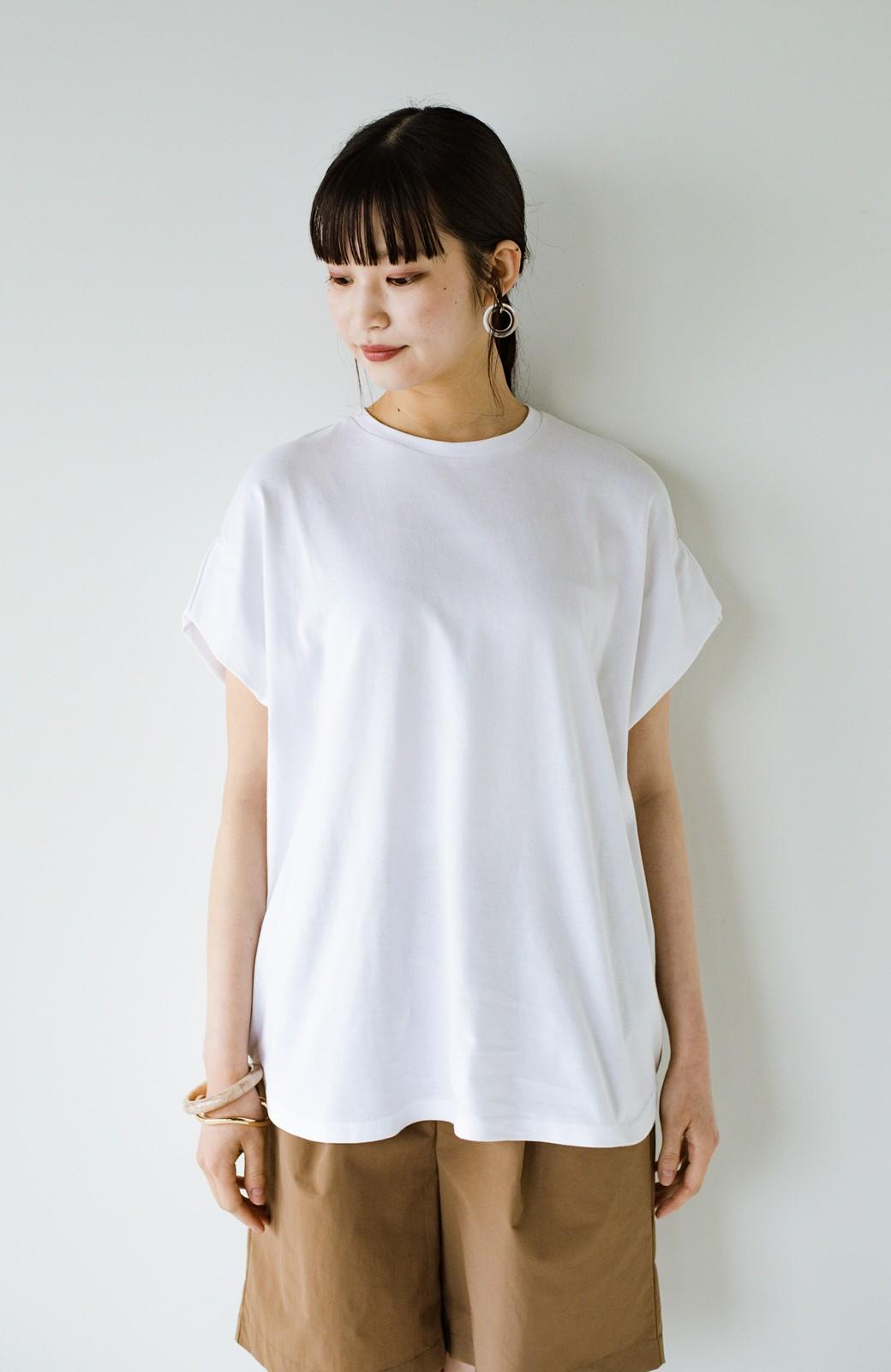haco! PBPオーガニックコットン 楽ちんなのにブラウス気分で着られる大人のおめかしTシャツ <ホワイト>の商品写真3
