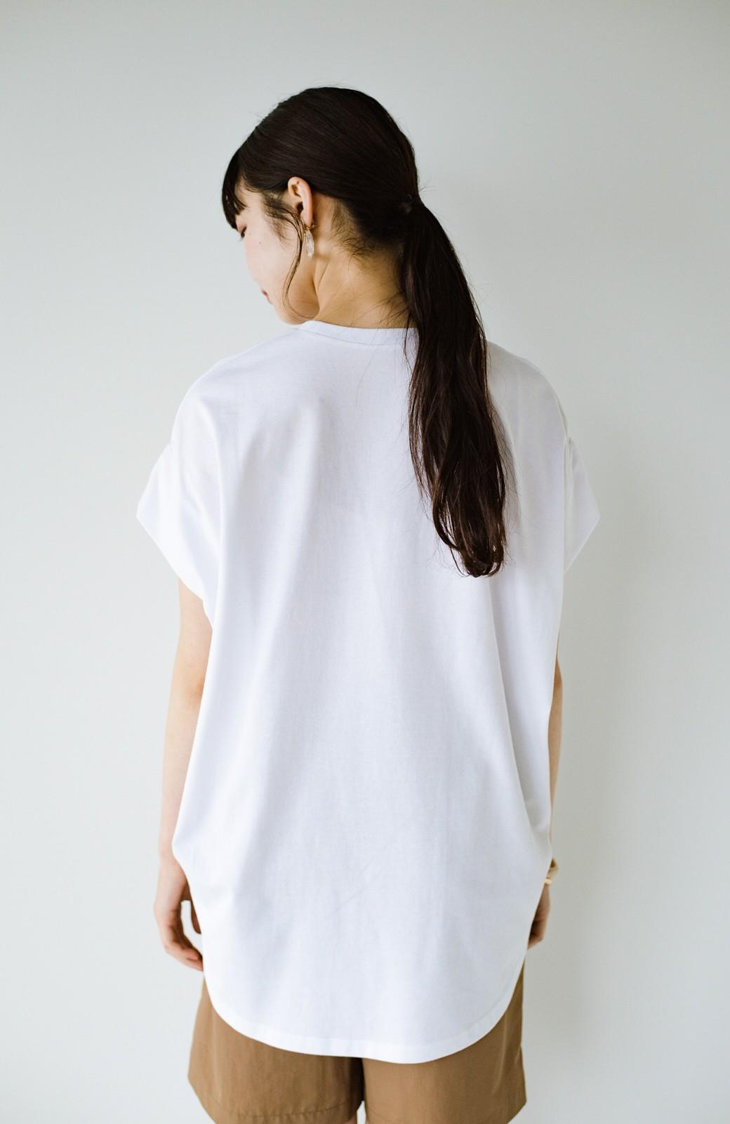 haco! PBPオーガニックコットン 楽ちんなのにブラウス気分で着られる大人のおめかしTシャツ <ホワイト>の商品写真24