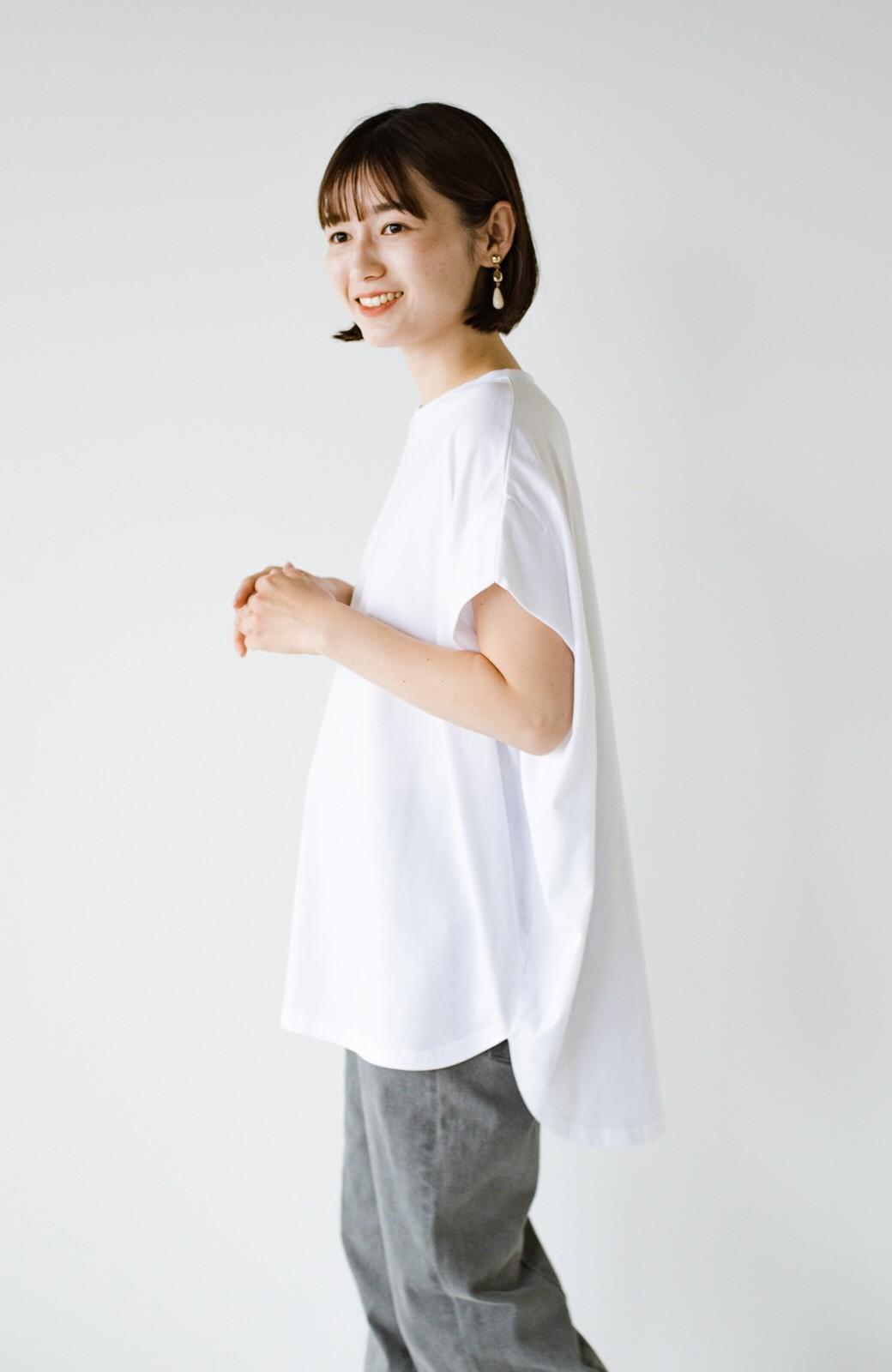 haco! PBPオーガニックコットン 楽ちんなのにブラウス気分で着られる大人のおめかしTシャツ <ホワイト>の商品写真25