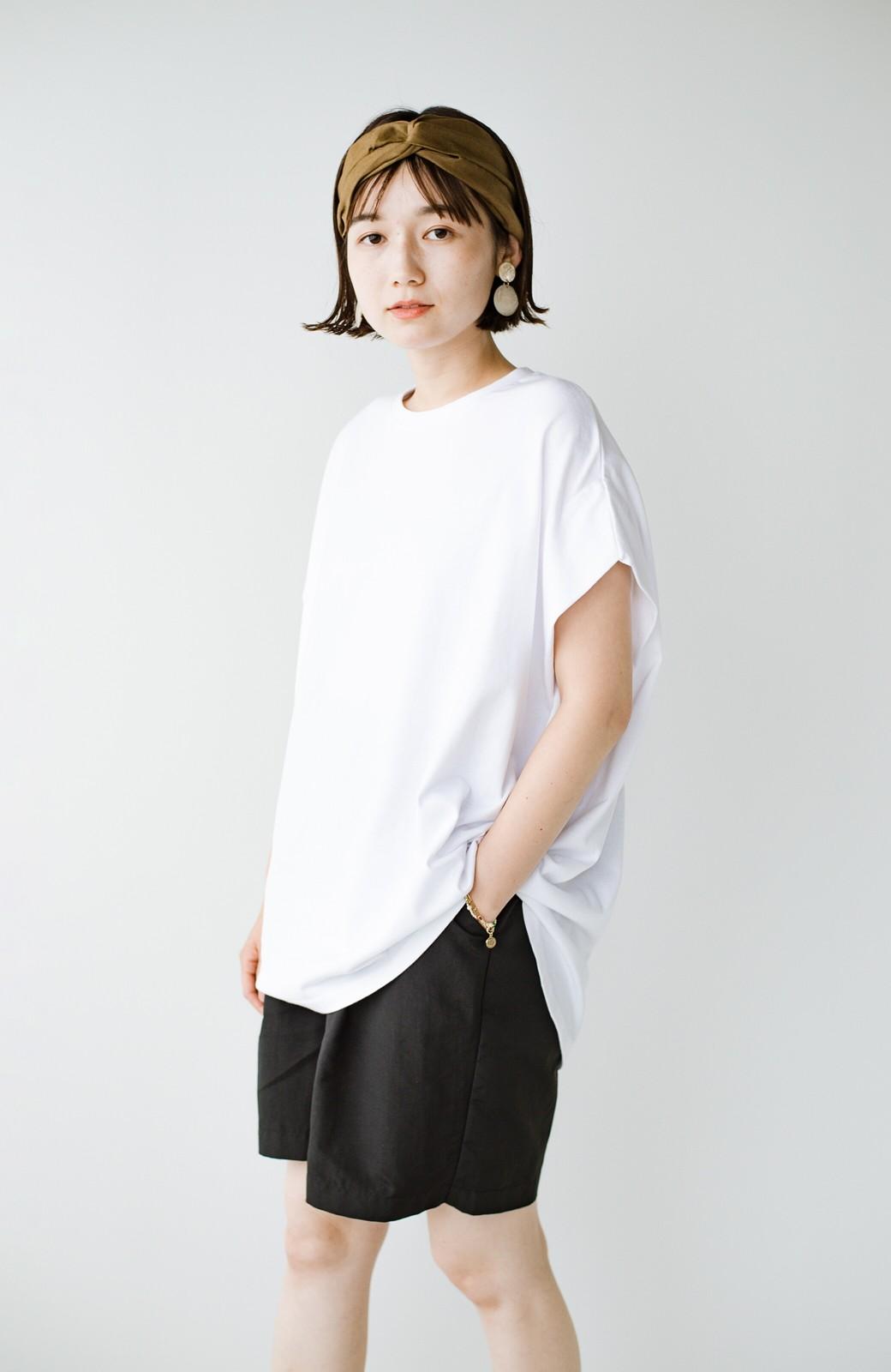 haco! PBPオーガニックコットン 楽ちんなのにブラウス気分で着られる大人のおめかしTシャツ <ホワイト>の商品写真27