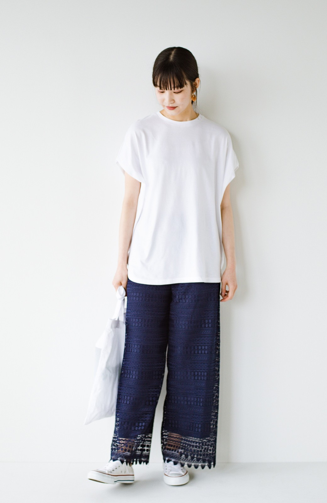 haco! PBPオーガニックコットン 楽ちんなのにブラウス気分で着られる大人のおめかしTシャツ <ホワイト>の商品写真13