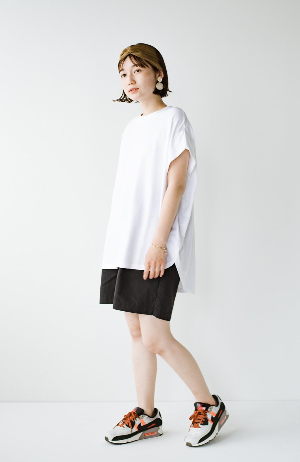 haco! PBPオーガニックコットン 楽ちんなのにブラウス気分で着られる大人のおめかしTシャツ <ホワイト>の商品写真16