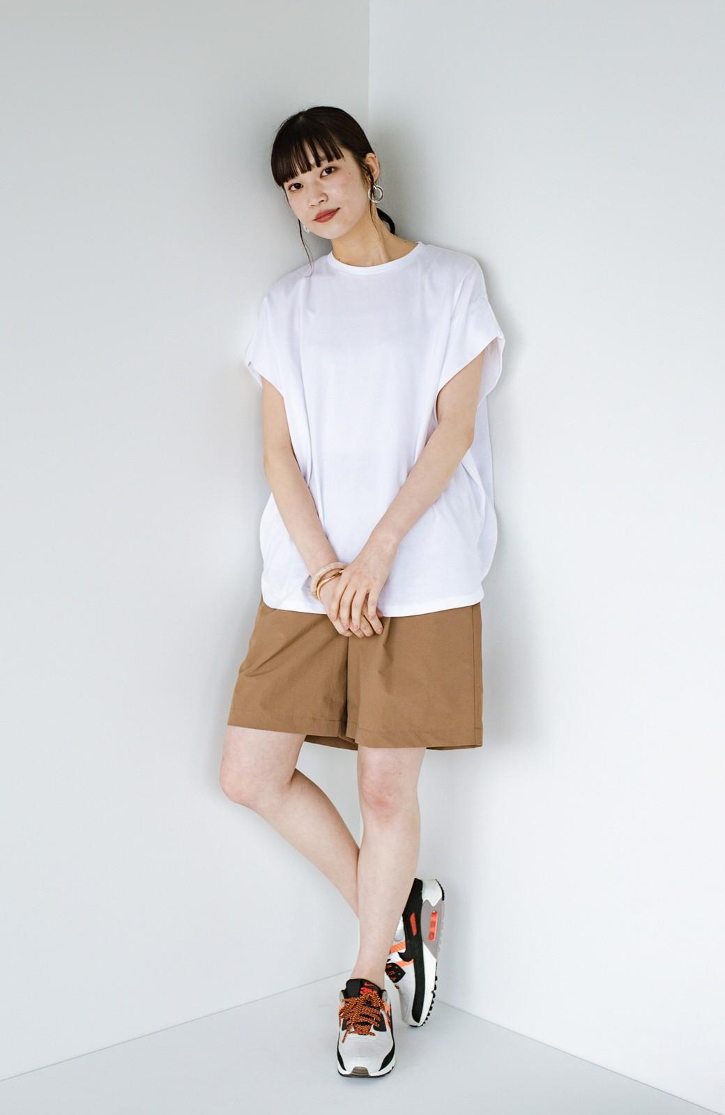 haco! PBPオーガニックコットン 楽ちんなのにブラウス気分で着られる大人のおめかしTシャツ <ホワイト>の商品写真6