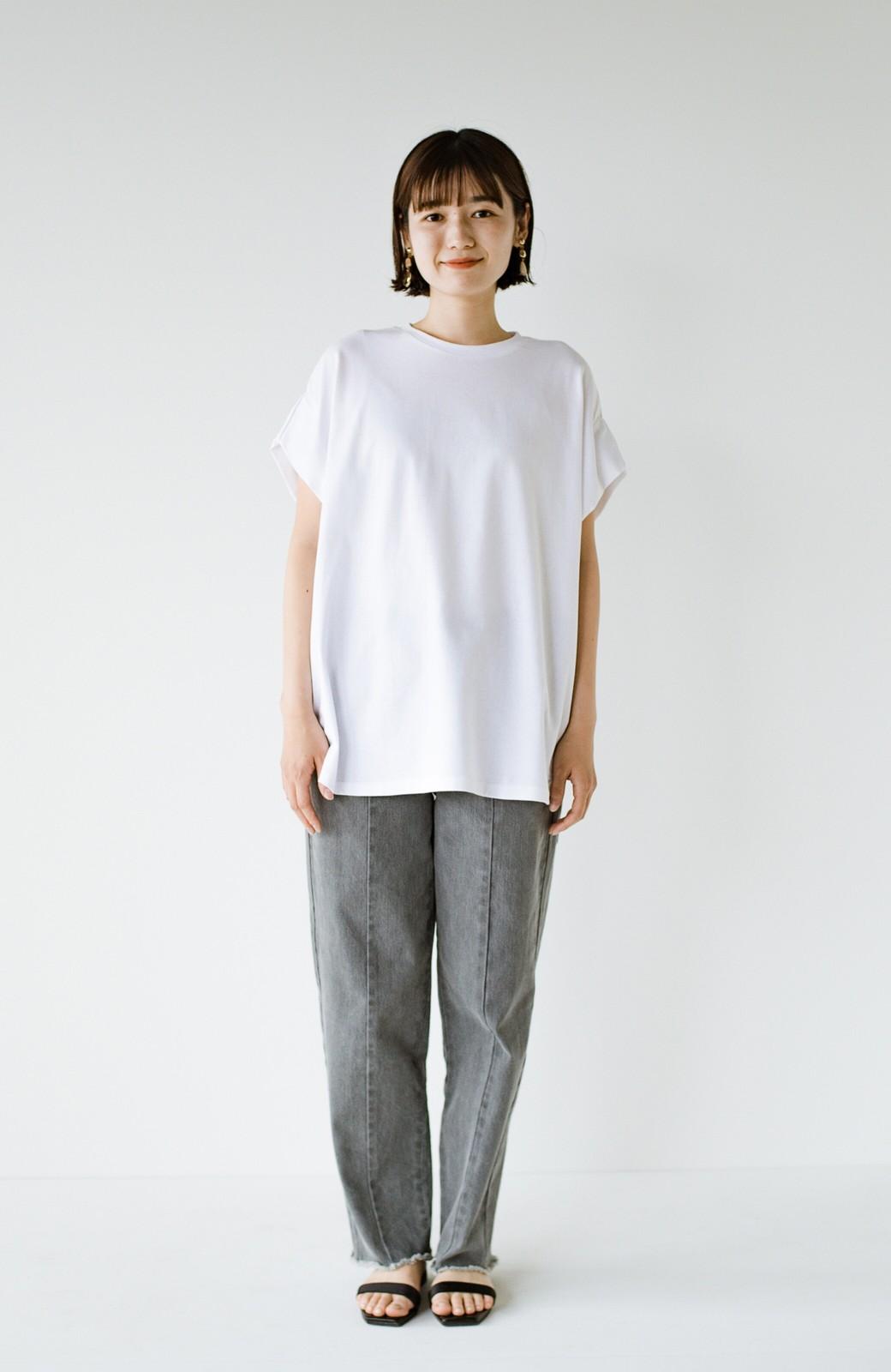 haco! PBPオーガニックコットン 楽ちんなのにブラウス気分で着られる大人のおめかしTシャツ <ホワイト>の商品写真8