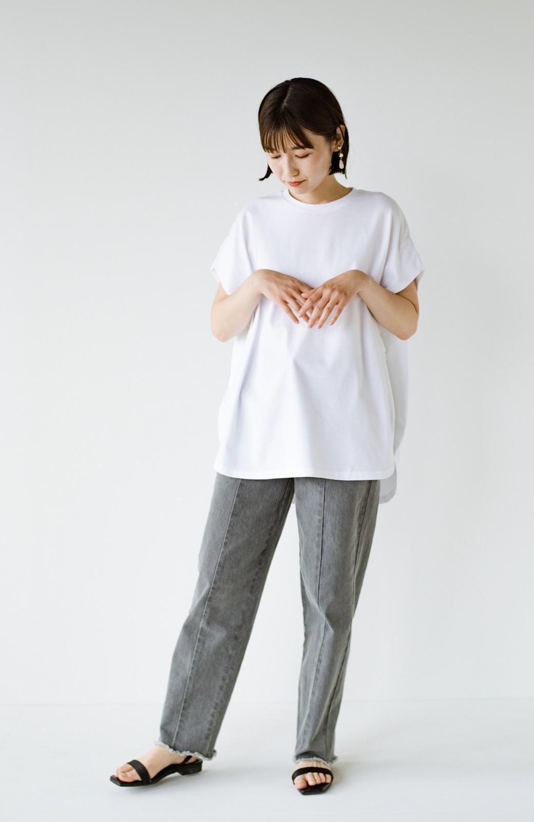 haco! PBPオーガニックコットン 楽ちんなのにブラウス気分で着られる大人のおめかしTシャツ <ホワイト>の商品写真7