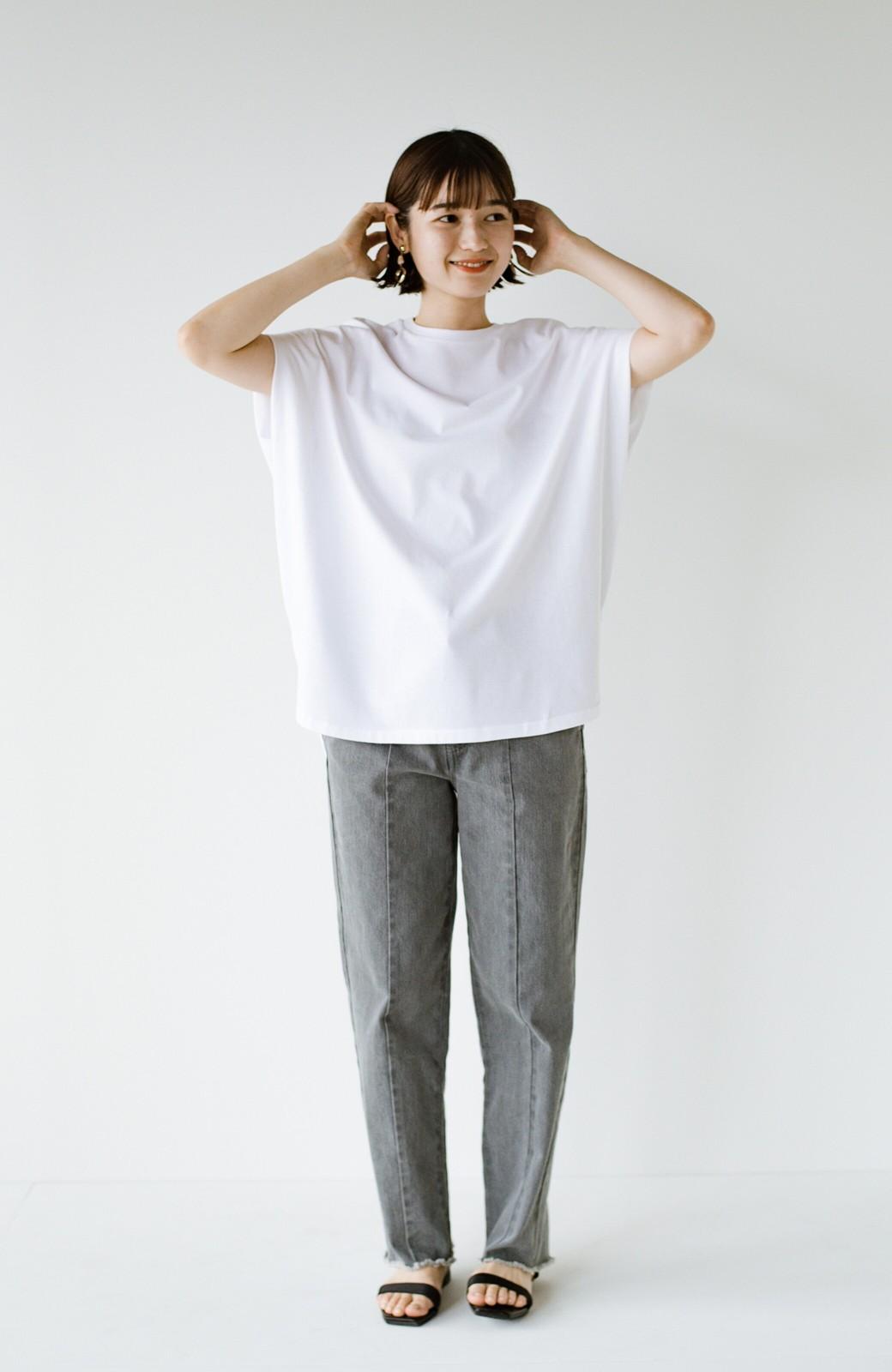 haco! PBPオーガニックコットン 楽ちんなのにブラウス気分で着られる大人のおめかしTシャツ <ホワイト>の商品写真9