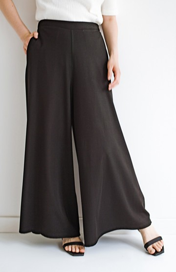 haco! パンツの動きやすさとスカートの華やかさをいいとこ取り!着心地楽ちんでのびのびすごせるワイドパンツ <ブラック>の商品写真