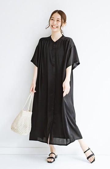 haco! 羽織としてもワンピースとしても着られちゃう 後ろ姿まで抜かりなくかわいいプリーツワンピース <ブラック>の商品写真