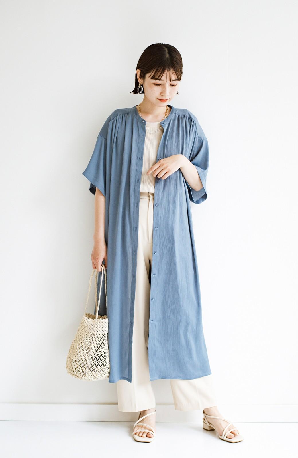 haco! 羽織としてもワンピースとしても着られちゃう 後ろ姿まで抜かりなくかわいいプリーツワンピース <ブルー>の商品写真20