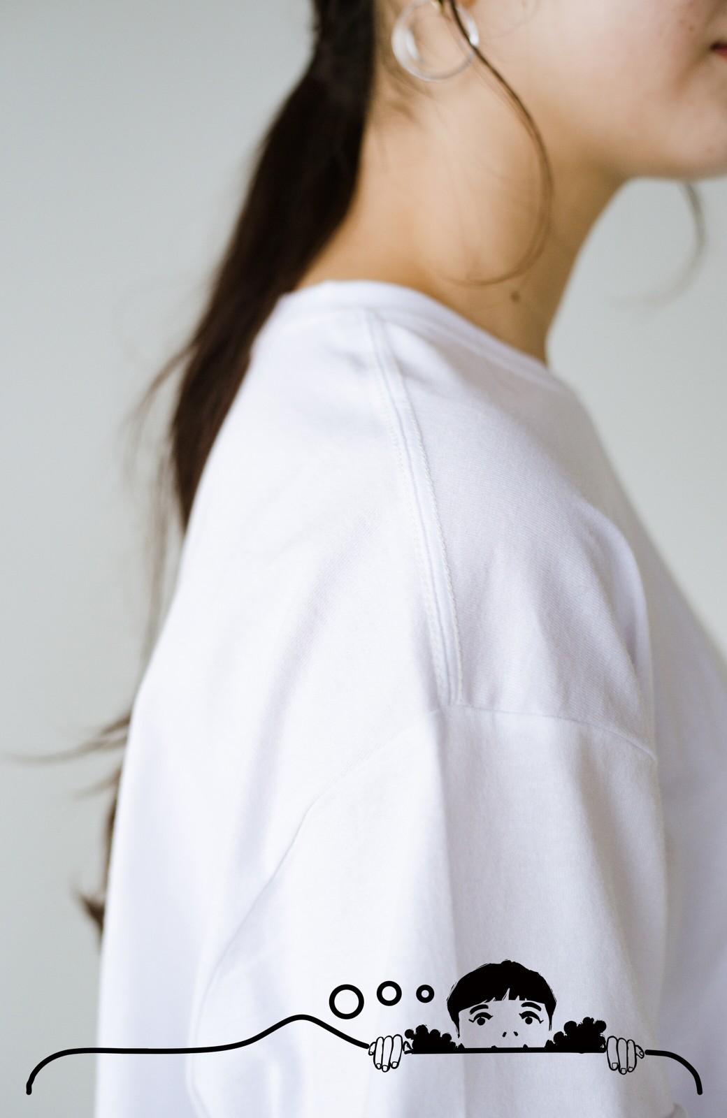 haco! あるかないかで大違い!大人の抜け感を醸し出すさりげなロゴTシャツ by who made me + PBP <ホワイト>の商品写真8
