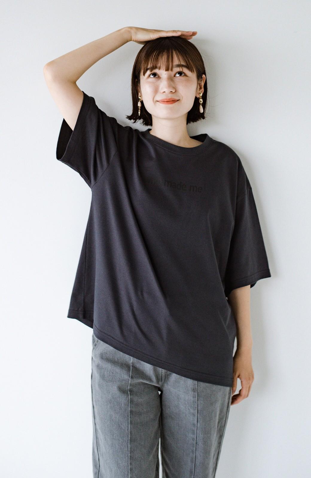 haco! あるかないかで大違い!大人の抜け感を醸し出すさりげなロゴTシャツ by who made me + PBP <チャコールグレー>の商品写真27