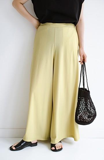 haco! パンツの動きやすさとスカートの華やかさをいいとこ取り!着心地楽ちんでのびのびすごせるワイドパンツ <ライム>の商品写真
