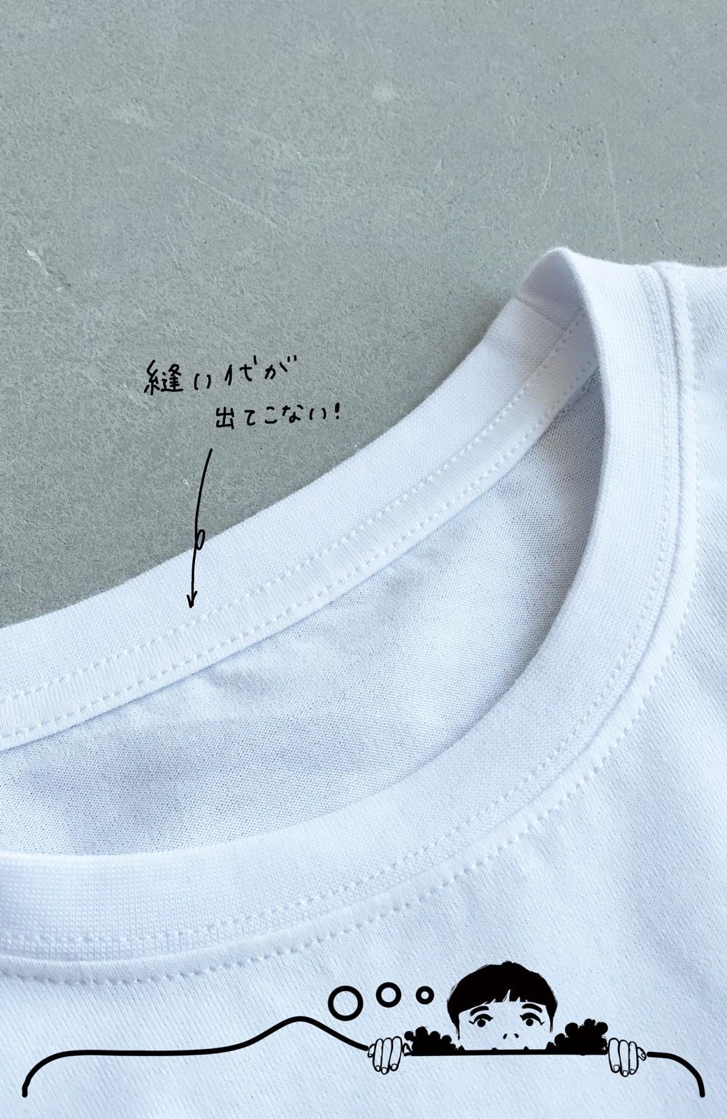 haco! あるかないかで大違い!大人の抜け感を醸し出すさりげなロゴTシャツ by who made me + PBP <ホワイト>の商品写真9
