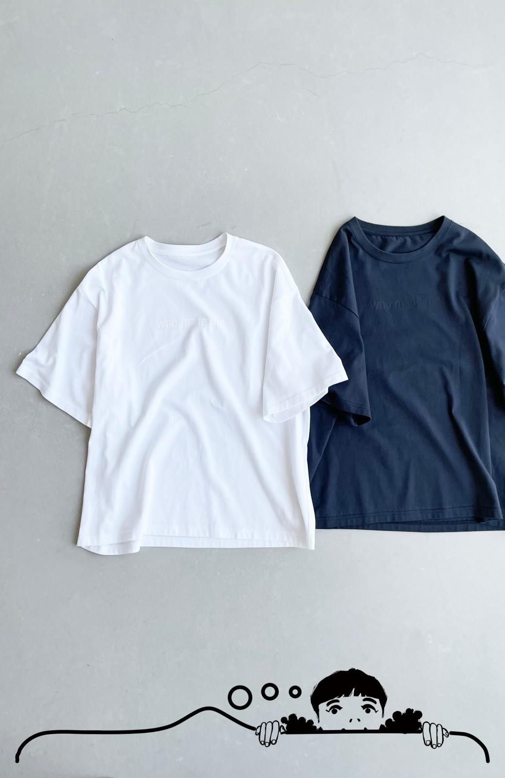 haco! あるかないかで大違い!大人の抜け感を醸し出すさりげなロゴTシャツ by who made me + PBP <ホワイト>の商品写真13