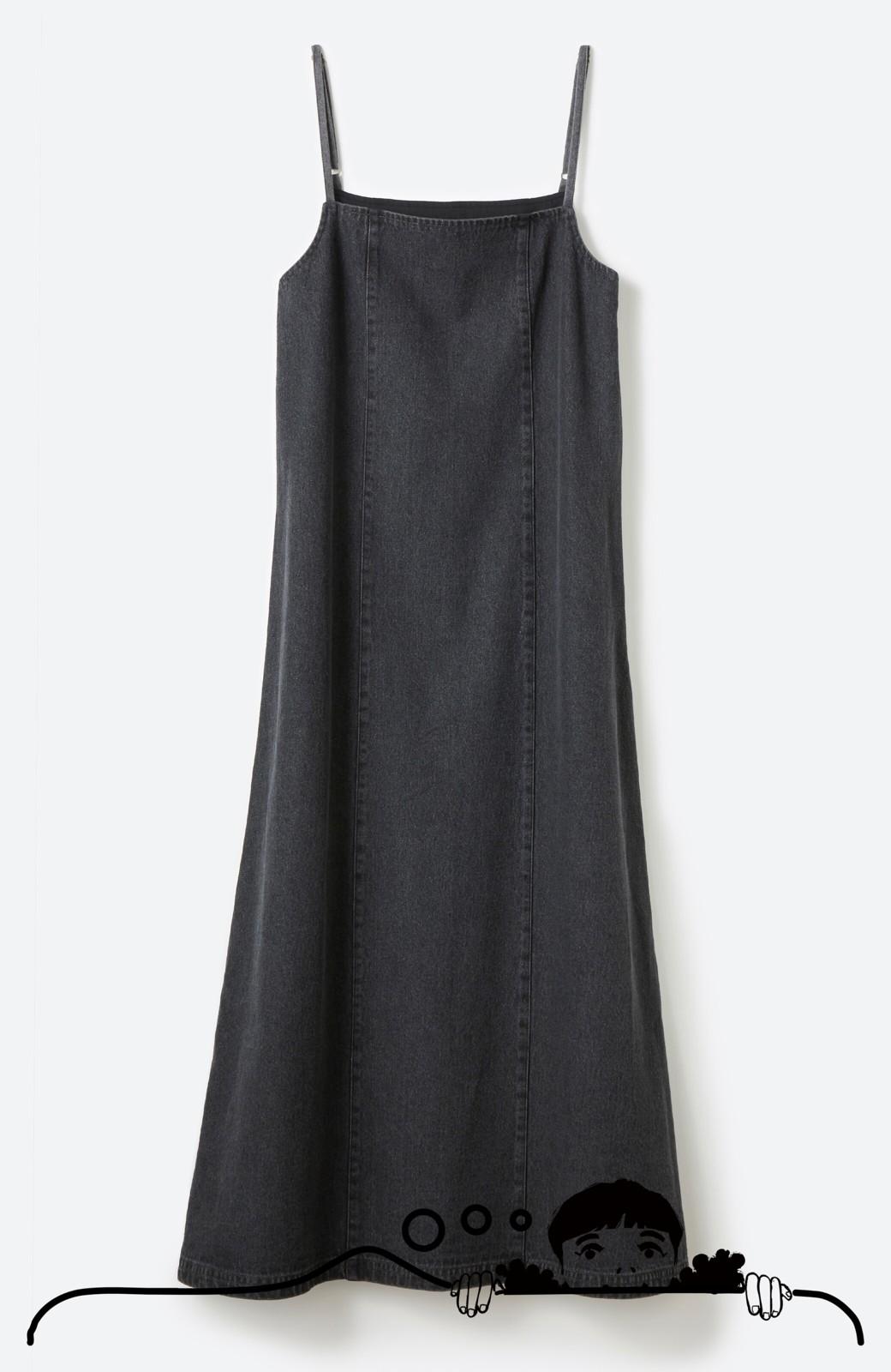 haco! コーデに迷った朝にシンプルTシャツと一緒に着るだけでかわいくなれる ラインがきれいなデニムキャミワンピースby who made me <ブラック>の商品写真10