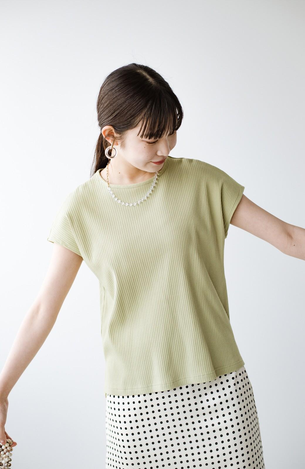 haco! 使いやすさNO.1!1枚でも重ね着にも着まわし上手なちょび袖リブトップス <ミント>の商品写真3
