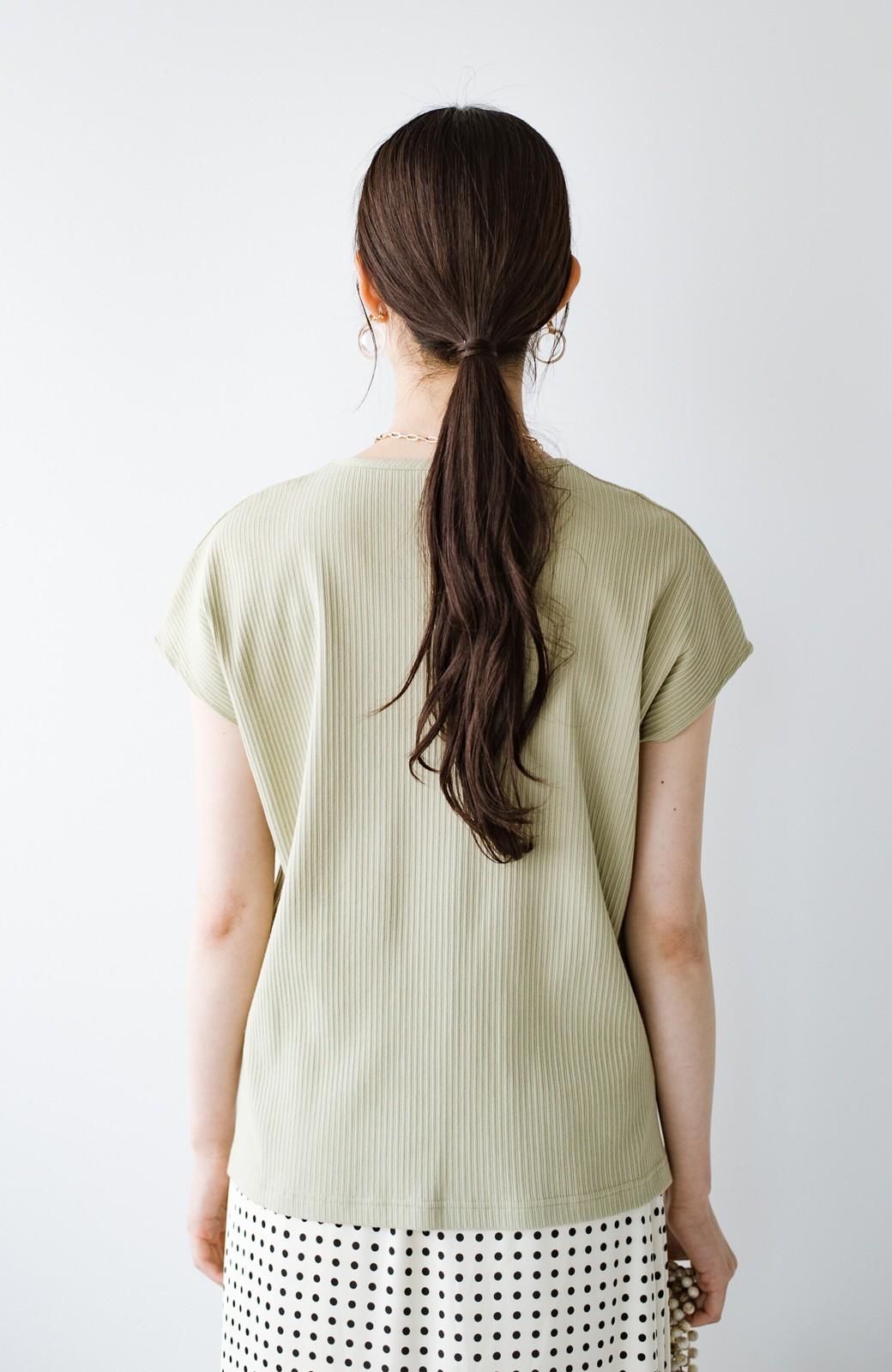 haco! 使いやすさNO.1!1枚でも重ね着にも着まわし上手なちょび袖リブトップス <ミント>の商品写真4