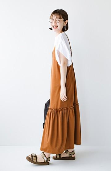 haco! シンプルTシャツに重ねるだけで楽してかわいくなれちゃう! カットソーの裾ひらりキャミワンピース <ブラウン>の商品写真