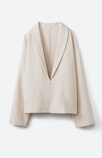 haco! さっと羽織ってお仕事モードに変身できる!お手入れ簡単な麻調素材の軽やかジャケット <ベージュ>の商品写真