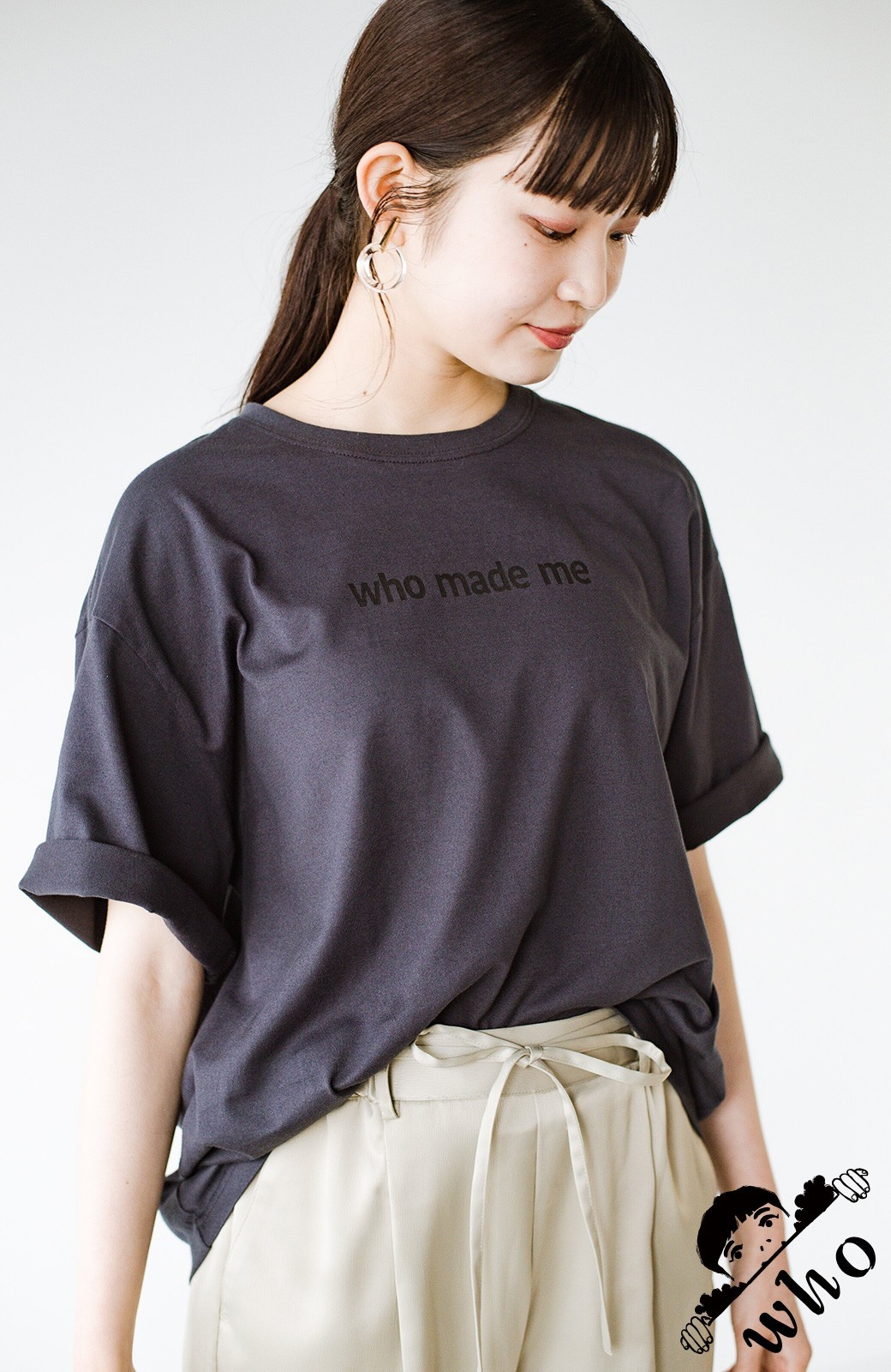 haco! あるかないかで大違い!大人の抜け感を醸し出すさりげなロゴTシャツ by who made me + PBP <チャコールグレー>の商品写真1