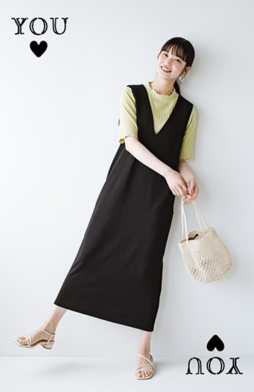 haco! 暑いねと寒いねを言い合える 続く日々がしあわせ どんな日にも寄り添うジャンパースカート by you made me <ブラック>の商品写真